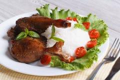 Jambe rôtie de canard avec le plan rapproché de riz horizontal Vue supérieure image libre de droits