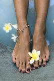 Jambes avec la chaîne de fleur et de perle Images libres de droits