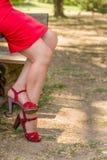 jambes croisées sinueuses de plus de la femme 40 Photo libre de droits