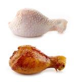 Jambes crues et rôties de poulet photo libre de droits