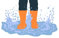 Jambes dans des bottes en caoutchouc jouant dans l'illustration de bande dessinée de magma illustration de vecteur