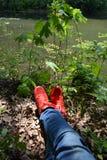 Jambes dans des espadrilles rouges avec des blues-jean avec des usures dans la perspective de nature et de lumière du soleil vert Photographie stock