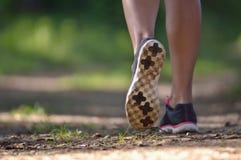 Jambes de coureur sur la voie en parc Photos libres de droits