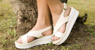 Jambes de femme dans le tir extérieur de jour de pantoufles d'été Image stock