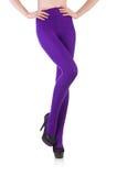 Jambes de femme portant de longs bas d'isolement Photos libres de droits