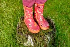 Jambes de fille d'enfant en couvre-chaussures roses Photographie stock libre de droits
