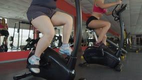 Jambes des femmes dodues et minces pédalant sur les vélos stationnaires dans le gymnase, sport clips vidéos