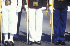 Jambes des soldats et des marins, tempête du désert Victory Parade, Washington, D C Image stock