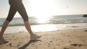 Jambes du ` s de femmes dans des chaussures de course fonctionnant le long du bord de la mer, l'océan Exécutez par la mer banque de vidéos
