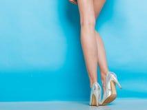 Jambes femelles dans des chaussures argentées de talons hauts Image stock
