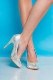 Jambes femelles dans des chaussures argentées de talons hauts Photographie stock libre de droits