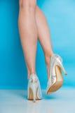 Jambes femelles dans des chaussures argentées de talons hauts Photos stock