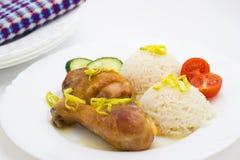 Poulet rôti avec du riz Photos libres de droits