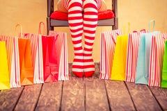 Jambes sexy de femme de Santa Photo stock