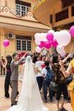 Jambi, Indonesië - Oktober 7, 2018: De luchtballons werden vrijgegeven tijdens een viering in een Chinese viering royalty-vrije stock foto