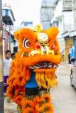 Jambi, Indonesien - 28. Januar 2017: Löwetanz, der Akrobatik tut, um Chinesisches Neujahrsfest zu feiern lizenzfreie stockfotos