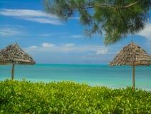 Jambiani beach at Zanzibar, Tanzania Royalty Free Stock Images