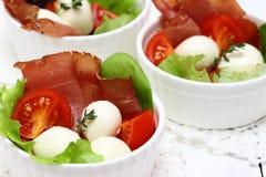 Jambon avec du mozzarella et des tomates Photographie stock libre de droits