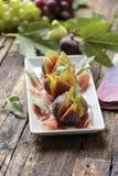 Jambon avec la figue fraîche Photo libre de droits