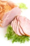Jambon coupé en tranches avec de la salade Photo libre de droits