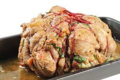 Jambon cuit au four sur un plateau Image stock