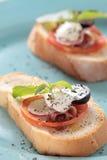 Jambon de Parme et fromage blanc Photos stock