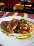 Jambon de Serrano avec grillé Images stock