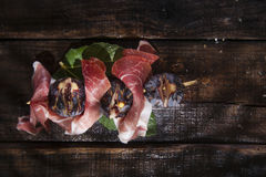 Jambon et figues de brochette Photo stock