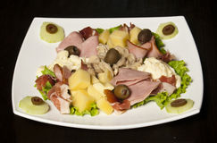 Jambon et salade d'olives Image libre de droits