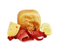 Jambon, pain et fromage photographie stock