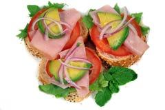 Jambon, tomate et dégagements 1 d'Avo Images stock