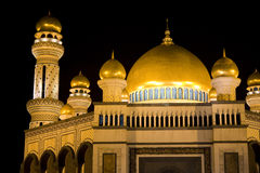 Jame'Asr Hassanil Bolkiah Mosque, Brunei. Night image of Jame'Asr Hassanil Bolkiah Mosque, Bandar Seri Begawan, Brunei Royalty Free Stock Images