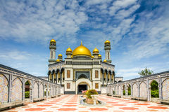Jame Asr Hassanil Bolkiah Mosque-Brunei,Asia. Beautiful View of Jame Asr Hassanil Bolkiah Mosque with Courtyard in Front - Bandar Seri Begawan, Brunei, Southeast Royalty Free Stock Images