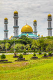 Jame Asr Hassanil Bolkiah Mosque-Brunei,Asia. Beautiful View of Jame Asr Hassanil Bolkiah Mosque with Green Plants in Front - Bandar Seri Begawan, Brunei Stock Photography
