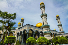 Jame Asr Hassanil Bolkiah Mosque-Brunei,Asia. Beautiful View of Jame Asr Hassanil Bolkiah Mosque with Green Plants in Front - Bandar Seri Begawan, Brunei Royalty Free Stock Images