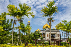 Jame Asr Hassanil Bolkiah Mosque-Brunei,Asia. Beautiful View of Jame Asr Hassanil Bolkiah Mosque with Palm Trees in Front - Bandar Seri Begawan, Brunei Stock Image