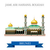 Jame Asr Hassanil Bolkiah mosque Brunei vector flat attraction. Jame Asr Hassanil Bolkiah mosque in Brunei. Flat cartoon style historic sight showplace Stock Photo