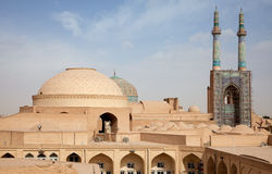 Jame Mosque and Traditional Bazaar of Yazd from Above Stock Photography