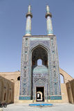 Jame mosque. With two minarets in Yazd, Iran Royalty Free Stock Image