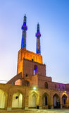 Jame Mosque of Yazd in Iran. The mosque is crowned by a pair of minarets, the highest in Iran Royalty Free Stock Photo