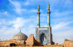 Jame Mosque of Yazd in Iran. The mosque is crowned by a pair of minarets, the highest in Iran Stock Photo