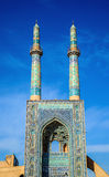Jame Mosque of Yazd in Iran. The mosque is crowned by a pair of minarets, the highest in Iran Stock Image