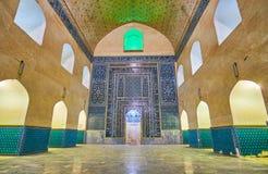 Jame Mozaffari清真寺,克尔曼,伊朗祷告大厅  免版税库存照片