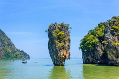 Jame's Bond island. The famous island in Thailand very crowded of tourists Royalty Free Stock Images