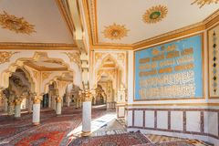 Jame-Shafeie. Shafeiha mosque Jame-Shafeie, the details of ceiling and decoration of Sunni mosque in Kermanshah Royalty Free Stock Photos