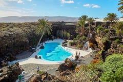 Jameos del Agua水池在兰萨罗特岛 免版税库存照片