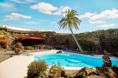 Jameos del Agua水池在兰萨罗特岛 免版税库存图片