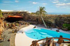Jameos del Agua水池在兰萨罗特岛 库存图片