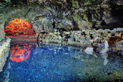 Jameos del Agua in Lanzarote. The `Jameos del Agua` cave-lake is home of blind albino crabs known as `Jameitos stock photography