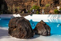 Jameos del Agua. LANZAROTE, SPAIN - FEBRUARY 06, 2019: Inside the famous volcanic cave formation Jameos del Agua on Lanzarote island Canary Islands royalty free stock photography